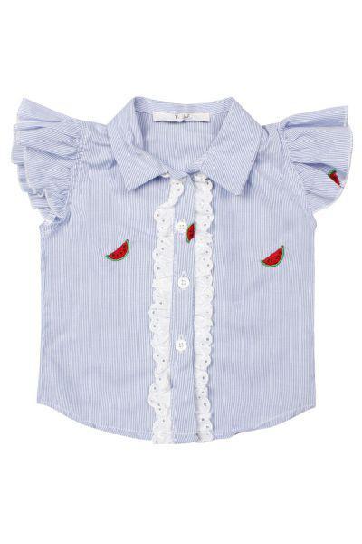 Купить Блуза, Y-clu', Голубой, Хлопок-100%, Женский